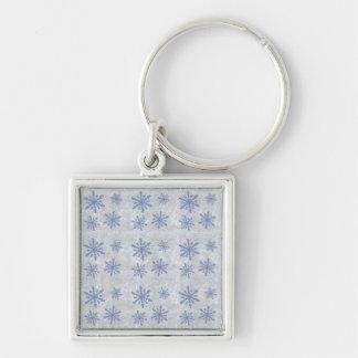 Snowflake Paper 1 - Original Blue & White Keychain