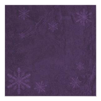"""Snowflake Paper 4 - Dark Purple Invites 5.25"""" Square Invitation Card"""