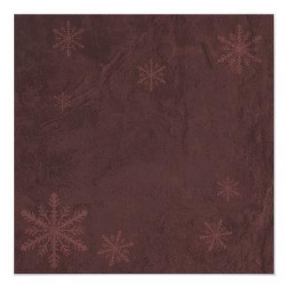 """Snowflake Paper 4 - Dark Red Invites 5.25"""" Square Invitation Card"""