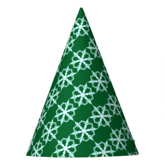 snowflake party hat green