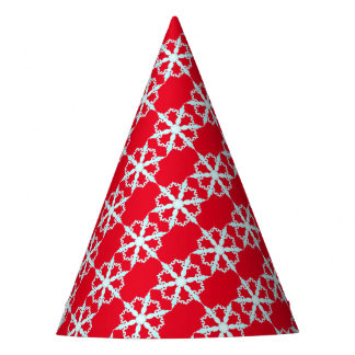 snowflake party hat red