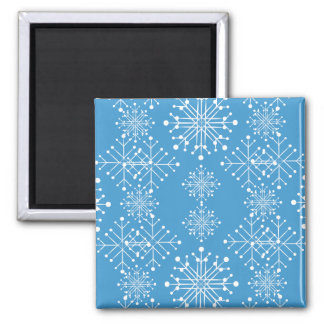 Snowflake Pattern, Blue and White 2 Inch Square Magnet