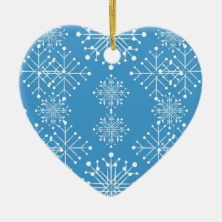 Snowflake Pattern, Blue and White Ceramic Ornament