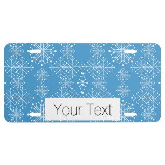 Snowflake Pattern, Blue and White License Plate