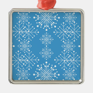 Snowflake Pattern, Blue and White Metal Ornament