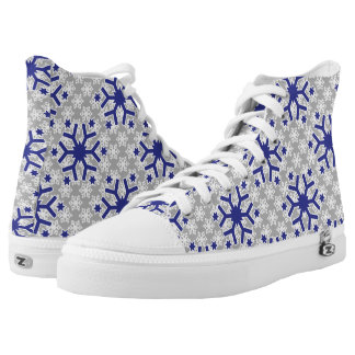 Snowflake pattern blue grey contemporary winter printed shoes