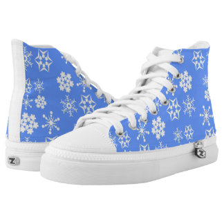 Snowflake Pattern Light Blue High-Top Sneakers