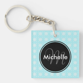 Snowflake Pattern on Baby Blue Keychain