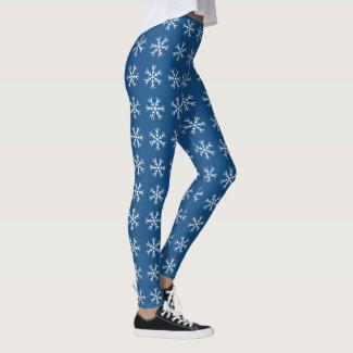 Snowflake Pattern on Navy Blue Leggings