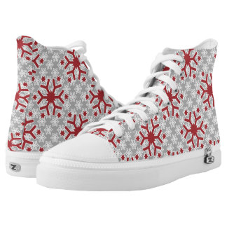 Snowflake pattern red grey modern winter High-Top sneakers