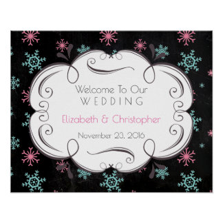 Snowflake Pattern Welcome To Our Wedding Custom Poster