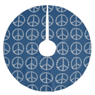 Snowflake Peace Signs Christmas Tree Skirt