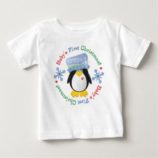 Snowflake Penguin Baby's First Christmas Shirt