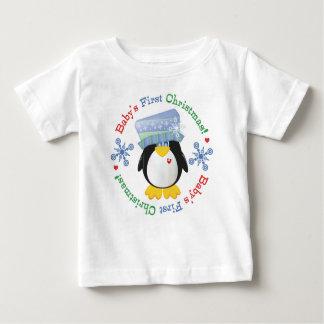 Snowflake Penguin Baby's First Christmas Tee Shirt