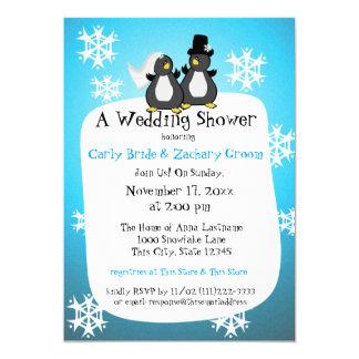 Snowflake Penguin Couple's Shower Card