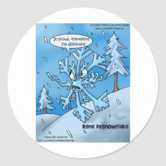 Snowflake Philosophers Funny Gifts Tees Cards Etc Classic Round Sticker