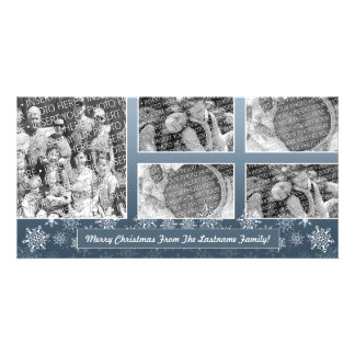 Snowflake Photo Card: 5 photo collage Photo Card