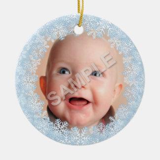 Snowflake Photo Frame Ceramic Ornament