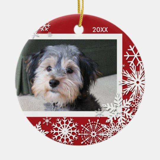 Snowflake Photo Frame For Christmas Ceramic Ornament