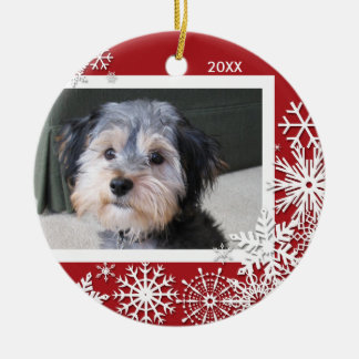 Snowflake Photo Frame For Christmas Double-Sided Ceramic Round Christmas Ornament