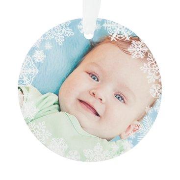 Christmas Themed Snowflake Photo Ornament   Baby's First Christmas