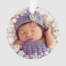 Snowflake Photo Ornament | Baby's First Christmas at Zazzle