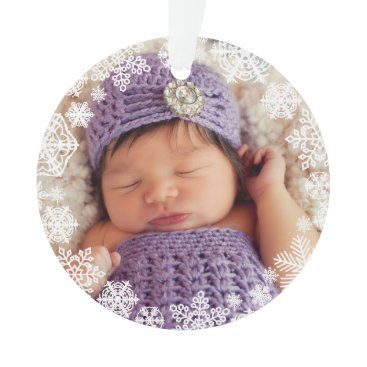 Christmas Themed Snowflake Photo Ornament | Baby's First Christmas