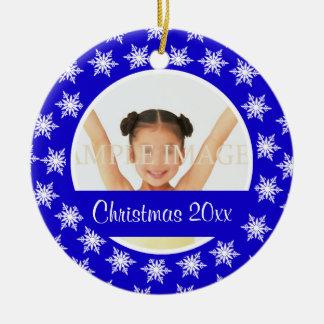 Snowflake photo personalize ceramic ornament