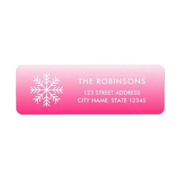 Beach Themed Snowflake Pink Gradient Label