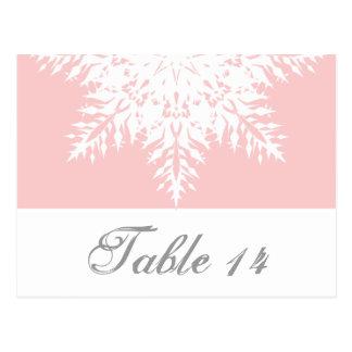Snowflake pink, white winter wedding table number postcard