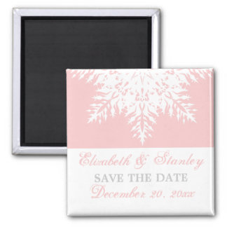Snowflake pink winter wedding Save the Date Magnet