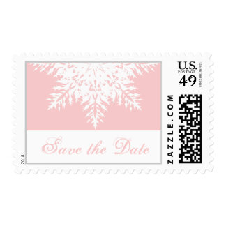 Snowflake pink winter wedding Save the Date Postage Stamps