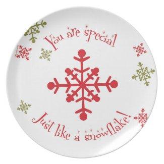 Snowflake plate plastic children's Christmas