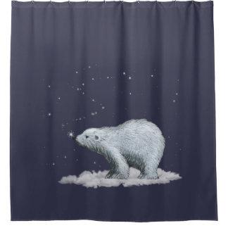 snowflake polar bear shower curtain