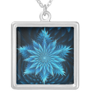 Snowflake Puff Silver Plated Necklace