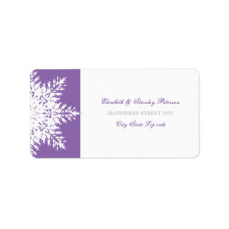 Snowflake purple white winter wedding label
