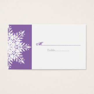 Snowflake purple white winter wedding place card