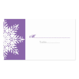 Snowflake purple white winter wedding place card business card templates