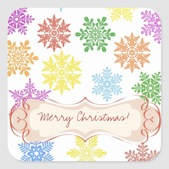 Snowflake Rainbow Square Sticker