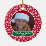 Snowflake Red and Green Christmas Ornament