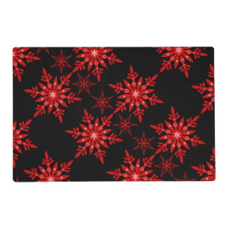 Snowflake red black table setting placemat