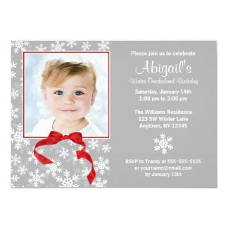 Snowflake Red Bow Winter Onederland Photo Birthday Card