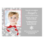 Snowflake Red Bow Winter Onederland Photo Birthday Custom Announcements