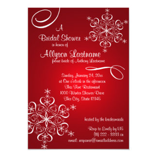Snowflake Red Bridal Shower Card