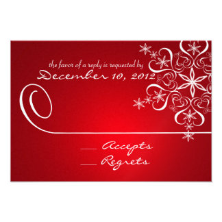 Snowflake Red Elegance Response Card Invite