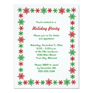 Snowflake Red Green Christmas Party Invitations