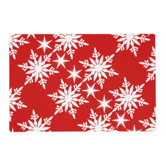 Snowflake red green table setting placemat
