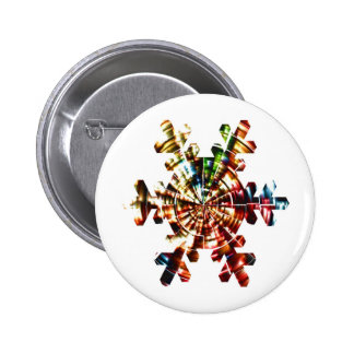 Snowflake - Red Sparkle Holistic Pattern 2 Inch Round Button