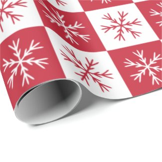Snowflake Red White Checkered Pattern Christmas Wrapping Paper