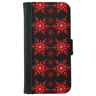 Snowflake red white snow elegant wallet phone case for iPhone 6/6s